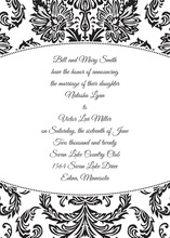 Stylish Black Damask Oval Frame Invitations