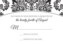 Formal Black Damask Oval Frame RSVP Cards