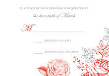 Stylish Rose Peony Floral RSVP Cards