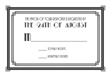 Black Vintage Deco Double Border RSVP Cards
