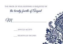 Navy Filigree Ornament RSVP Cards