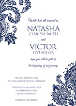 Navy Filigree Ornament Frame Invitations