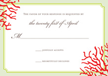 Red Coral Mint Frame RSVP Cards