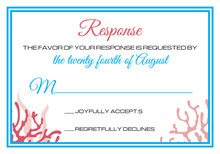 Cyan Red Coral RSVP Cards