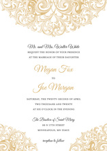 Beautiful Victorian Revival Gold Wedding Invitations