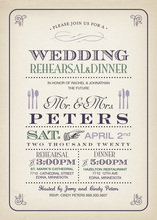 Vintage Dinner Rustic Looks Wedding Party Invitations