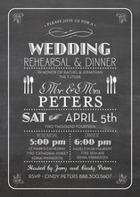 Modern Solid Black Chalkboard Dinner Party Invitations