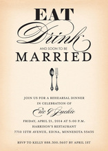Eat, Drink, Soon To Be Married Classy Bridal Invites