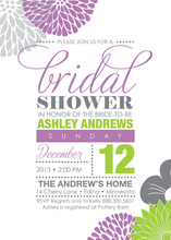 Pretty Modern Abstract Floral Bridal Shower Invitations