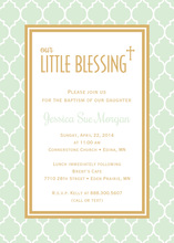 Mint Little Blessing Gold Border Invitations