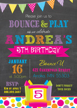 Bright Bunting Bounce House Girl Birthday Invitations