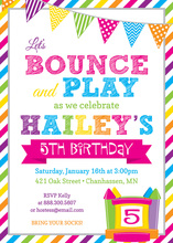 Bright Stripes Bounce House Birthday Party Invitations