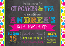 Bright Dots Chalkboard Birthday Party Invitations