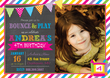 Bright Bunting Bounce House Girl Photo Invitations