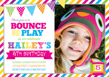 Bright Stripes Bounce House Photo Birthday Invitations