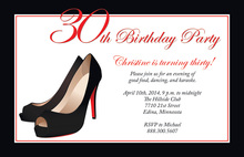 Formal Black Stiletto Heels Birthday Invitations