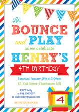 Brawny Stripes Bounce House Birthday Invitations