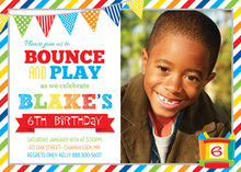 Brawny Stripes Bounce House Photo Birthday Invitations