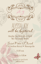 Vintage Roses Butterfly Invitations