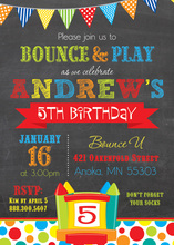 Brawny Bunting Bounce House Boy Birthday Invitations