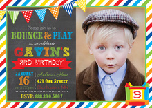 Brawny Bunting Bounce House Boy Photo Invitations