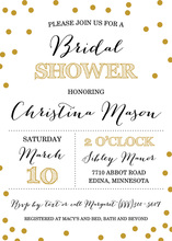 Simple Gold Confetti Bridal Shower Invitations