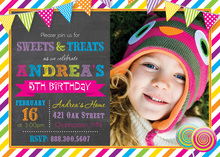 Bright Sweets Girl Photo Birthday Party Invitations