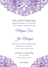 Formal Victorian Design Revival Purple Invitations