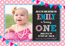 Hot Pink Frosty Girl Photo Birthday Party Invitations