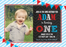 Blue Frosty Boy Photo Birthday Party Invitations