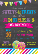Bright Sweets Girly Chalkboard Birthday Invitations