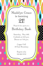 Modern Geometric Ikat Evening Birthday Invitations
