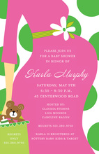 Dots of Baby Shower Pink Green Invitations
