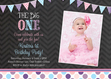 Purple Cupcake Pink Chevrons Photo Birthday Invitation