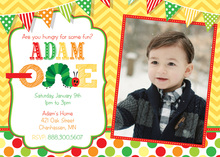Hungry For Fun Yellow Chevrons Photo Invitations
