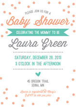 Whimsical Mint Peach Confetti Baby Shower Invitations