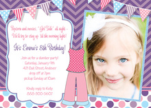 Pink Pajamas Sleepover Photo Birthday Invitations