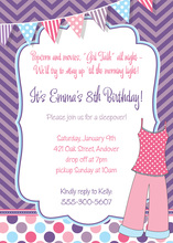Pink Pajamas Sleepover Birthday Invitations