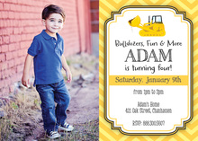Yellow Bulldozer Chevrons Photo Birthday Invitations
