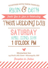 Lovely Whimsical Banner Stipes Wedding Invitations