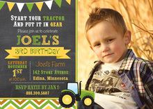 Green Tractor Chevrons Photo Birthday Invitations