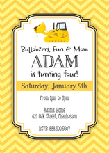 Yellow Bulldozer Chevrons Boy Birthday Invitations