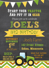Green Tractor Chevrons Boy Birthday Invitations