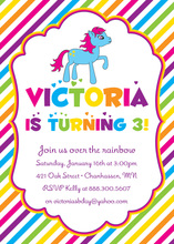 Bright Rainbow Stripes Pony Birthday Party Invitations