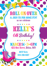 Pink Skates Rainbow Dots Birthday Party Invitations