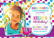 Pink Skates Rainbow Dots Photo Birthday Invitations