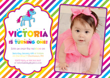 Bright Rainbow Stripes Pony Photo Birthday Invitations