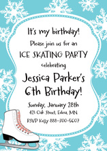 Ice Skate Snowflakes Blue Birthday Invitations