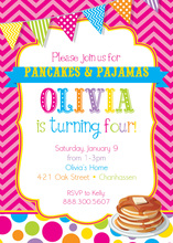 Bright Pancakes and Pajamas Birthday Party Invitations