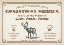 Playful Reindeer Winter Scene Invitations